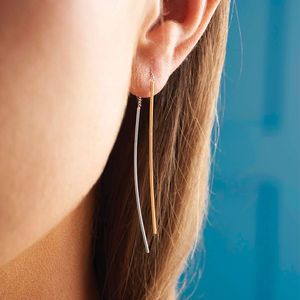 Silver And Gold Double Bar Drop Earrings - earrings