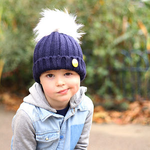 Navy Beanie Hat With Removable Faux Fur Pom Pom