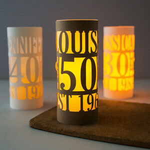 Personalised 50th Birthday Lantern Centrepiece