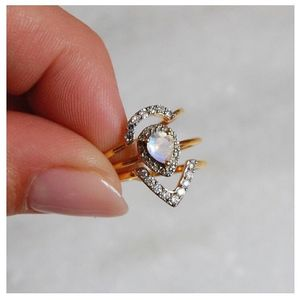14ct Solid Gold Pear Shape Diamond And Moonstone Ring - rings