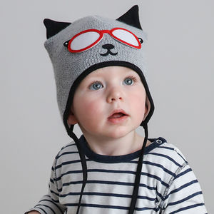 Baby's Kitty Cat Knitted Hat Grey And Black - babies' hats