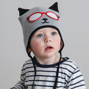 Baby's Kitty Cat Knitted Hat Grey And Black