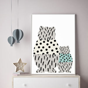 Modern Bear And Babe Print - children's room