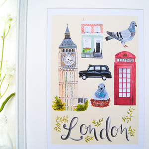 Illustrated London City Art Print - canvas prints & art
