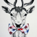 Deer In A Bow Tie A3 Giclee Print
