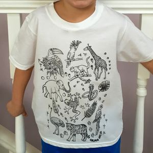 Zoo Animals T Shirt To Colour In