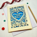 Laser Cut wedding Cards cream and Peacock Blue