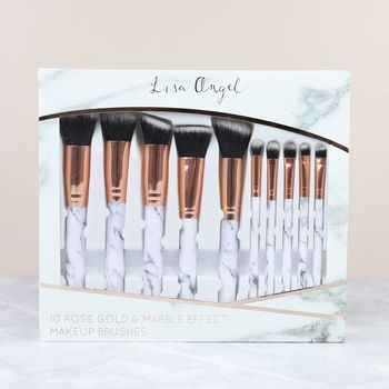 Set Of 10 Marble And Rose Gold Cosmetic Brushes