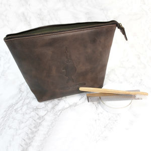 'Hooked' Brown Leather Wash Bag