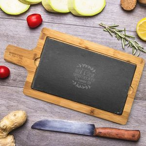 Personalised Floral Wood And Slate Chopping Board