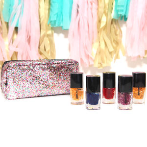 Set Of Five Glitter Nail Polish In A Gift Pouch - view all new