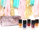 Set Of Five Glitter Nail Polish In A Gift Pouch