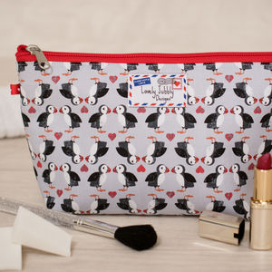 Puffins Gift Puffin Hearts Makeup Cosmetic Bag