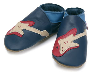 Boys Soft Leather Baby Shoes Guitar Navy