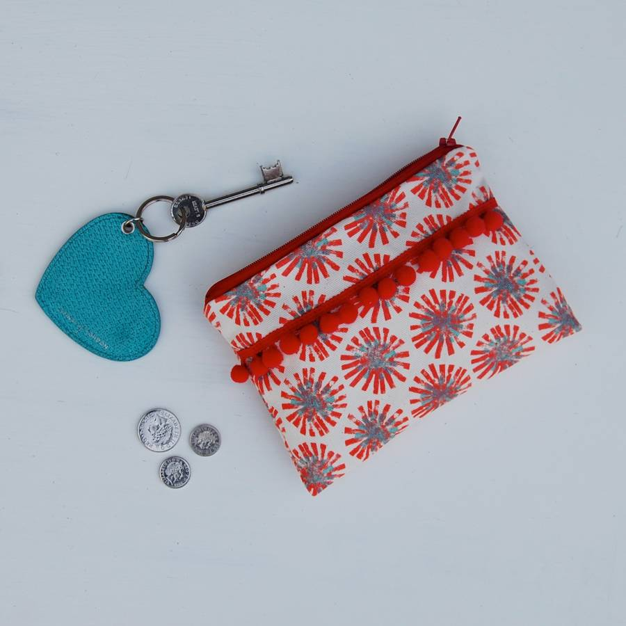 Red Dandelion Purse With Red Pom Poms