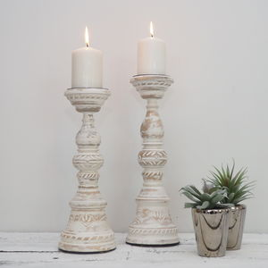 White Distressed Wooden Candlestick - tableware