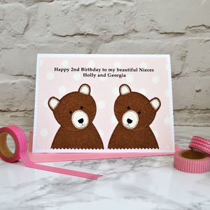 Girls Personalised Twins Birthday Card - birthday cards