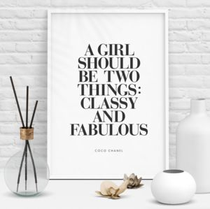 Coco Chanel 'Classy And Fabulous' Typography Print
