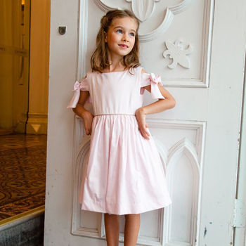 Girls French Designer Bow Sleeve Occasion Dress