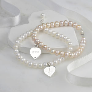 Personalised Pearl And Silver Friendship Bracelet