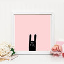 Modern Rabbit Print In Pink Or Mint