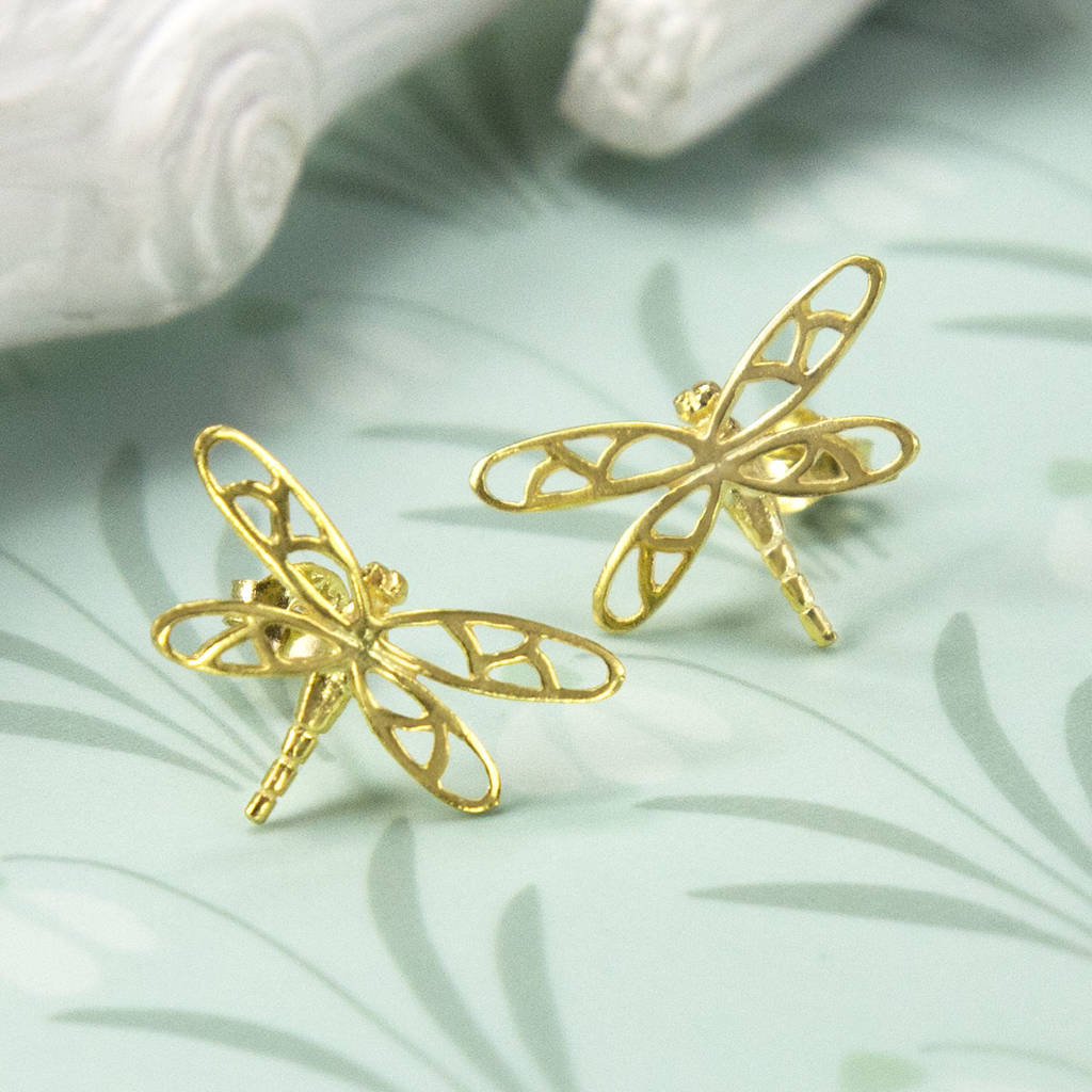 Gold Plated Sterling Silver Dragonfly Stud Earrings