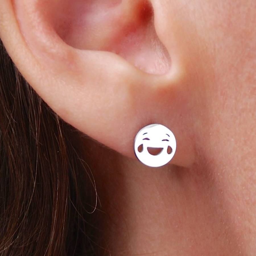 piercings earrings cute gifts women emoticons stud small fashion jewelry from christmas enamel emoji product earring shiningcompany gold color for