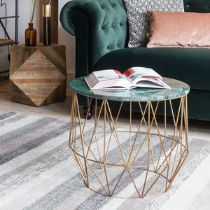 Deep Emerald Marble Geometric Table - living room