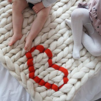 Chunky Knit Love Heart Baby Blanket