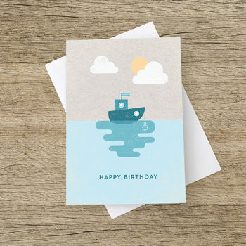 'Happy Birthday' Boat And Anchor Card