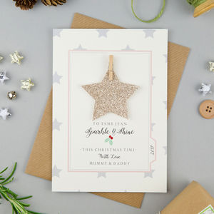 Personalised Glitter Star Christmas Card