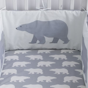 Polar Bear Print Fitted Cot Sheet - whatsnew