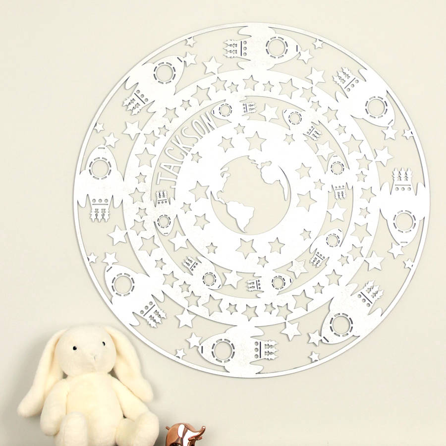 Personalised Space Themed Laser Cut Wooden Wall Art