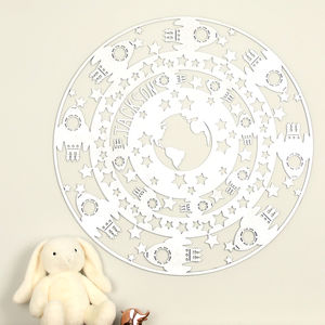 Personalised Space Themed Laser Cut Wooden Wall Art - children's room accessories