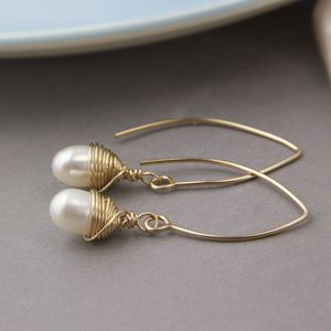Wrapped Gold And Teardrop Pearl Long Earrings - earrings