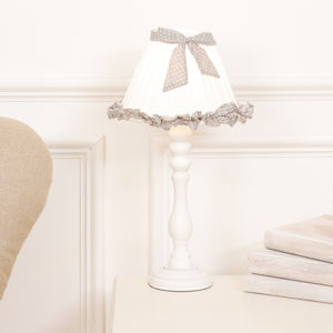 Eloise Polka Dot Frill Lamp With Shade - lighting