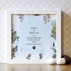 Framed 50th Wedding Anniversary Print With Gold Foil