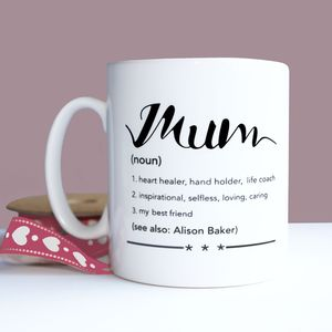 Personalised Mothers Day 'Mum' Definition Mug