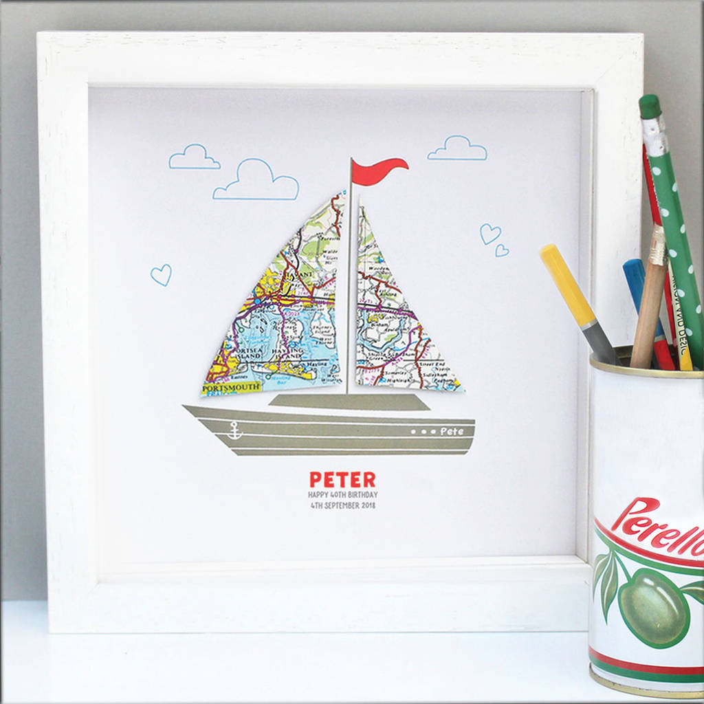 Personalised Birthday Boat Map Art