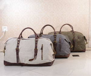 Personalised Canvas Classic Travel Holdall Bag - travel & luggage