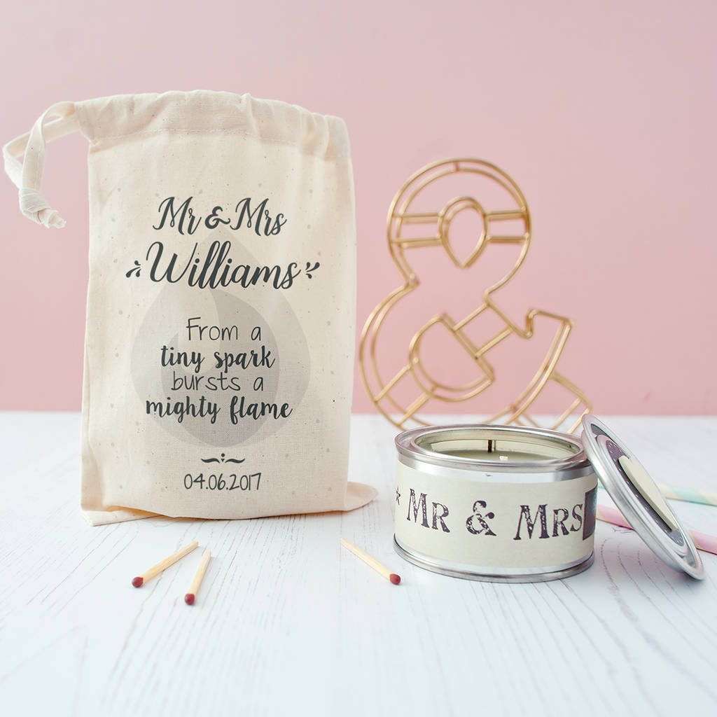 Wedding Gift Candles: Personalised Wedding Candle In Gift Bag By The Little