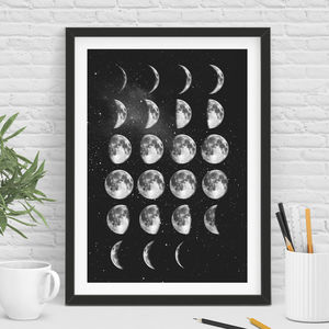 Moon Phase Moon Print In Black And White - prints & art sale