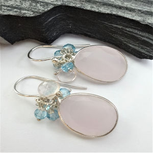 Pink Quartz Blue Topaz Cluster Earrings