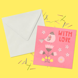 With Love Floral Valentines Greeting Card