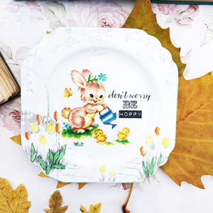 'Don't Worry Be Hoppy' Upcycled Vintage China Tea Plate