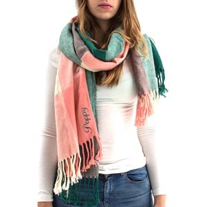 Personalised Coral And Green Checked Scarf - blanket scarf trend