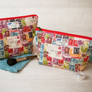Postage Stamp Mail Gift Makeup Toiletry Wash Bag