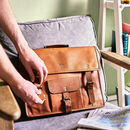 Personalised Vintage Leather Satchel Bag