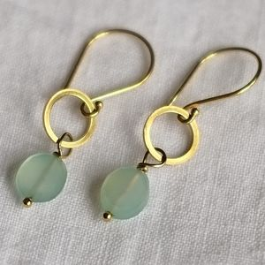 Gold Circle And Gemstone Earrings