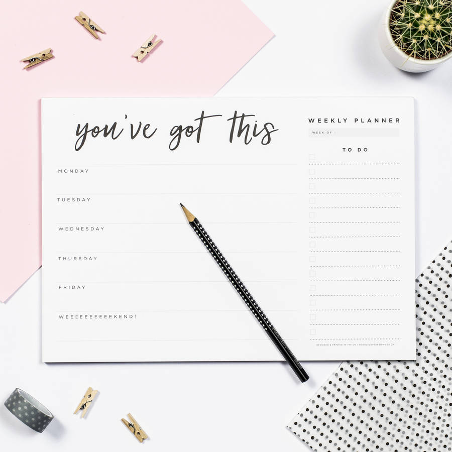 you ve got this weekly desk planner pad by doodlelove rh notonthehighstreet com